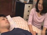 Japanese Mom Blowjob Masturbation and Fuck with Sons Friend